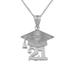 Silver Class of 2021 Graduation Cap Charm Necklace